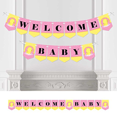 Big Dot of Happiness Pink Ducky Duck - Girl Baby Shower Bunting Banner - Pink Party Decorations - Welcome Baby (Pink Ribbon Rubber Ducks)