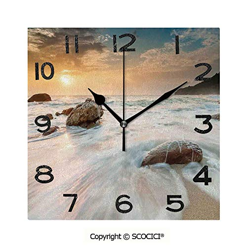 (SCOCICI 8 Inch Square Face Silent Wall Clock Grand Sea Waves On The Beach and Horizon Sky Holiday Calm Dream Light Season Photo Unique Contemporary Home and Office Decor )