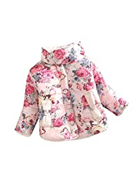 Kids Child Girl Flowers Coat Jackets Changeshopping Winter Thick Top Waistcoat