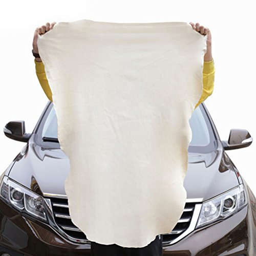 LIGONG 1 Piece Natural Chamois Leather Car Cleaning Cloth Wash Shammy Cloth Wash Suede Absorbent Quick Dry Towel (Approx. 45 x 60cm)
