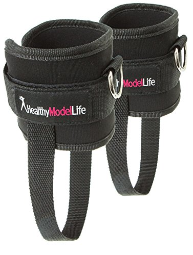 Wide Ankle Band (#1 Glute Straps By Healthy Model Life (2 Pcs) - Free Carry Bag Included)