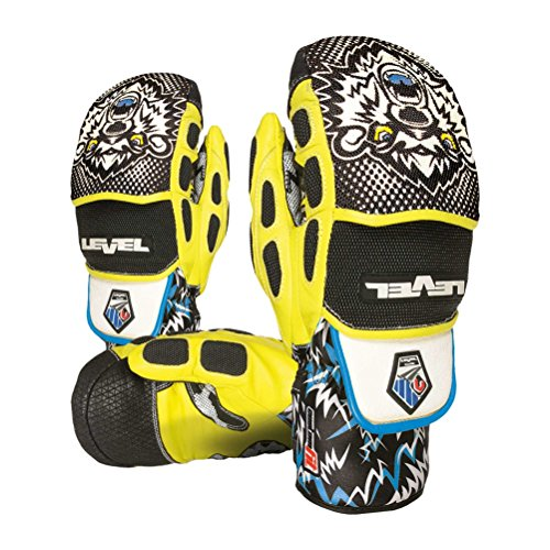Level WorldCup CF Ski Racing Mittens, Black/Yellow (Large/Extra Large (9.5in)) ()