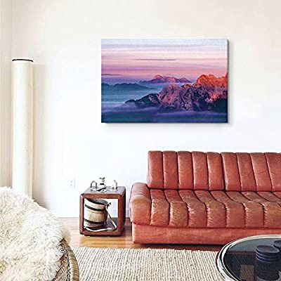 Classic Design, Alluring Print, Watercolor Style Red Mountains and Clouds at Sunset
