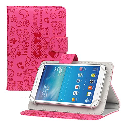 Mchoice 7 Inch Android Tablet New Universal Leather Flip Stand Case Cover (Hot Pink) (Kids 7 For Inch Cases Tablet)