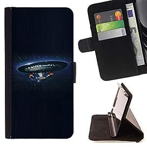 KingStore / Leather Etui en cuir / Sony Xperia Z3 D6603 / Empresa Nave Espacial