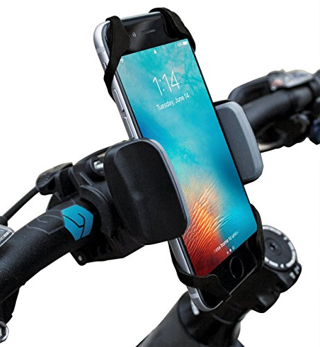 Deluxe Double Bow Case (Widras Bike Mount Bicycle Phone Holder Universal Biking Cradle Handlebar Clamp for iOS Android Smartphone Boating GPS Stroller with 360 Degrees Rotatable Support 2 Rubber Straps - Black and Red)
