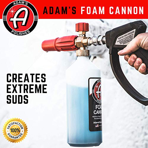Adam's Red Foam Cannon - Produces Unbelievably Thick Snow Foam - Adjustable Air Intake Valve, Fan Pattern For Optimal Car Washing And Quick Connector For Pressure Washer Gun Blaster (Foam Cannon Only) by Adam's Polishes (Image #1)