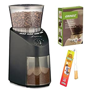 Capresso Jura Infinity 560 Conical Burr Coffee Grinder - Black + Coffee Grinder Dusting Brush + 3-pack 35G Grindz Coffee Grinder Cleaner