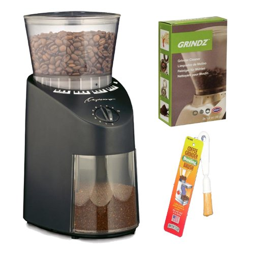 Capresso 560.01 Infinity Conical Burr, Black Includes Coffee Grinder Dusting Brush and 3-pack 35G Grindz Coffee Grinder Cleaner