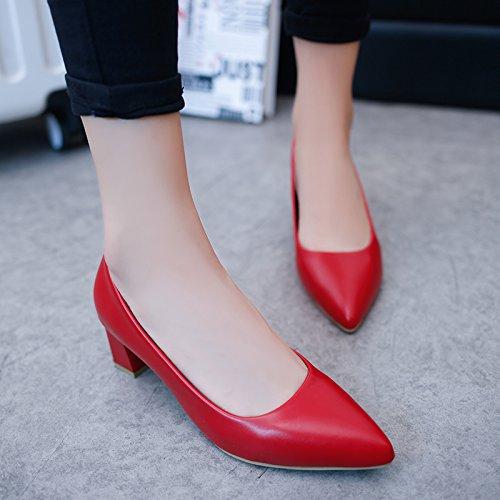 donna tacchi da punta professionali rosso lavoro da 39 con Scarpe alti Scarpette scarpe a Xue bassa Qiqi con 6qxSR4RwI
