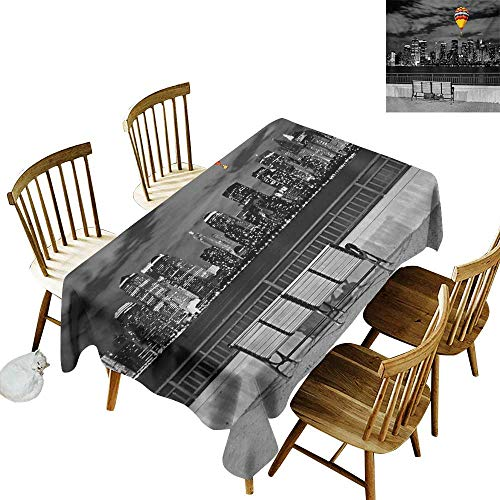 Cranekey Printed Rectangular Tablecloth W50 x L80 Black and White NYC Skyline from Liberty State Park with Vibrant Air Balloon in Sky Print Multicolor Great for Party More