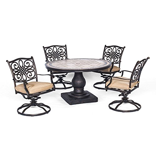 Hanover Monaco 5 Piece Dining Set with Four Swivel Rockers