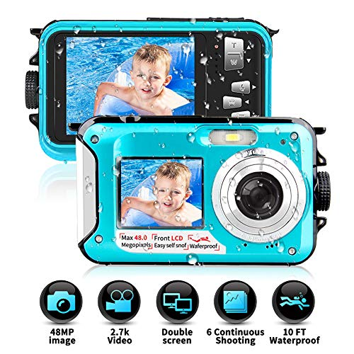 Waterproof Camera Underwater Camera 10 FT 2.7K Full HD 48MP 16X Digital Zoom Waterproof Digital Camera Self-Timer Dual Screens Anti Shake for Snorkeling, Travel and Vacation (Digital Camera Waterproof Olympus)
