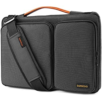 Tomtoc 13.3-13.5 Inch Laptop Shoulder Bag, 360° Protective Laptop Sleeve Case for 13.3 Inch MacBook Air | MacBook Pro Retina 2012-2015 | Surface Book 2 2017 | Chromebook | Tablet, Black