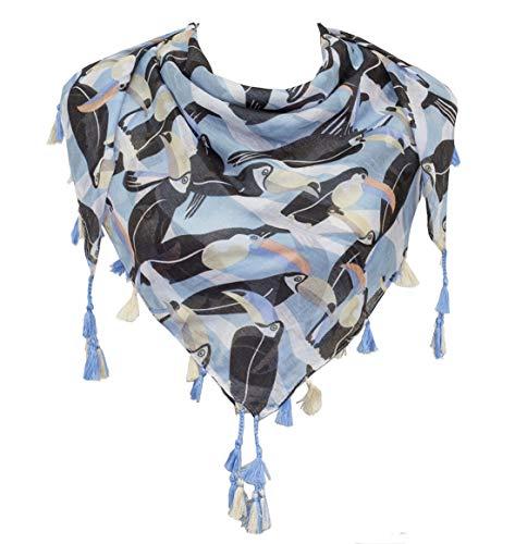 StylesILove Womens Fashion Lightweight Pattern Weave Tassel Fringe Square Scarf (Toucan)