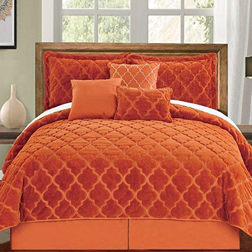 Serenta Faux Fur Ogee Embroidery 7 Piece Bedspread Quilts Set, King, Burnt Orange ()