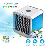 ABDQPC Personal Air Cooler Personal Space USB Portable Air Conditioner, Mini Smart Humidifier Cooling Fan with 7 Colors LED Lights for Household Yoga Work Night Light Outdoor Travel and More