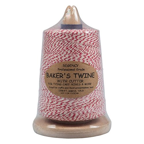 Bakers Twine & Holder For Easy Cutting & Storage - Red & White String by Regency Wraps
