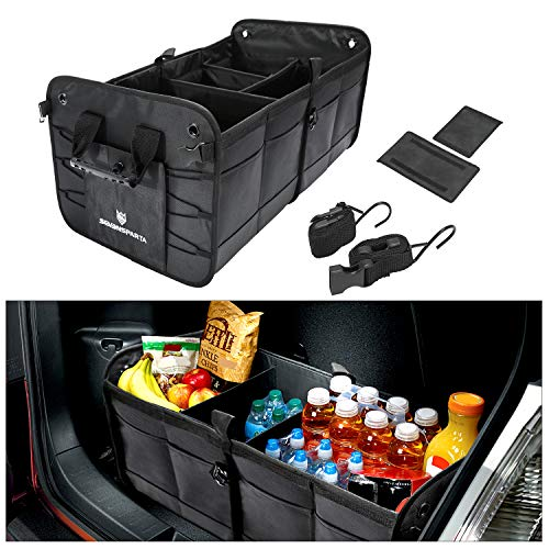 "Updated Trunk Organizer for Car Storage Collapsible Portable Multipurpose Compartments Cargo Storage SUV Sedan Auto Trunk Accessories Extended Size (27.6"" L x 15.7"" W x 12.6"" ()"