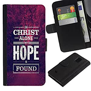 Samsung Galaxy S5 Mini / SM-G800 (Not For S5!!!) , la tarjeta de Crédito Slots PU Funda de cuero Monedero caso cubierta de piel ( Christ Hope God Christian Purple)