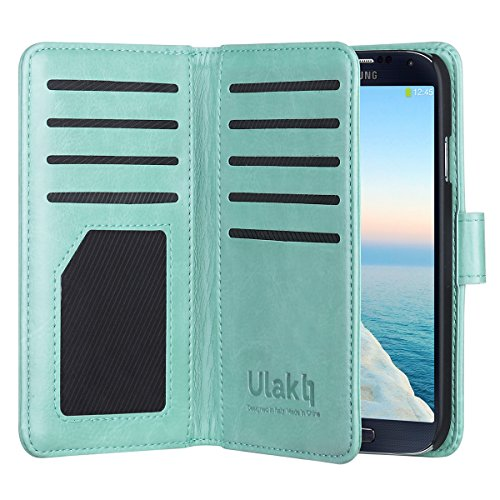 Galaxy S4 Case, S4 Case --ULAK Multi Card Slots Series PU Leather Magnetic Wallet Case Cover for Samsung Galaxy S4 IV i9500 (Mint Green) - Galaxy S4 Active Full Wallet Case