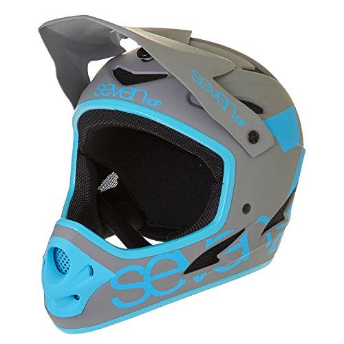7iDP M1 Helmet, Matt Primer Grey/Electric Blue, Large - Full Face Bike Helmet