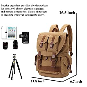 i-graphy Waterproof Backpack with Cover for DSLR Camera - Kahki