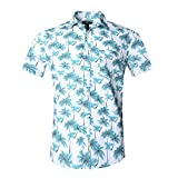 NUTEXROL Hawaiian Shirts Mens Bamboo Print Beach Aloha Party Holiday print1 M