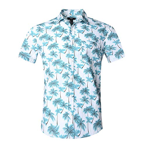 c737beb50 NUTEXROL Hawaiian Shirts Mens Bamboo Print Beach Aloha Party Holiday print1  L