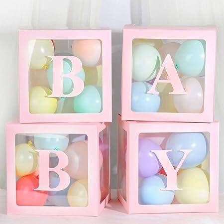 Inicio 4 Unids Diy Caja de Soporte de Organizador de Globo de Látex Transparente Baby Love Bloques Para Niño Niña Bebé Boda Fiesta de Cumpleaños decoración Telón de Fondo (Sin Globos): Amazon.es: