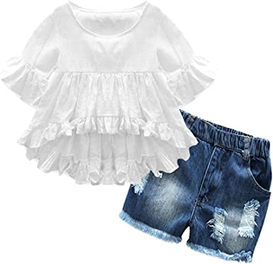 Amazon Com Ropa De Nina Para Ninos Pequenos Conjuntos Cortos De Algodon Casual Abrigo Pantalones Vaqueros 2 Piezas Conjuntos De Pantalones Clothing