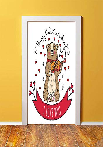 (Valentines Day 3D Door Sticker Wall Decals Mural Wallpaper,Teddy Bear with Violin Made with Love Romantic Music Notes Heart I Love you,DIY Art Home Decor Poster Decoration 30.3x78.6056,Red Brown)