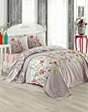 LaModaHome Spring Coverlet, 100% Cotton - Beauty of Colorful Flowers, Patterned, Gray, Pink - Size (78.7'' x 90.6'') for Full Bed