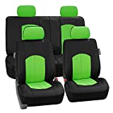 FH Group Limited TIME ONLY FH-PU008114 Perforated Leatherette Full Set Car Seat Covers, (Airbag & Split Ready), Green/Black Color- Fit Most Car, Truck, SUV, or Van
