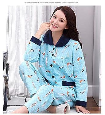 eba1740399 HITSAN J&Q Female Pajamas Set Cute Leisure Cartoon Sleepwear Cotton Pijamas Home  wear Plus Size Pijama Feminino Women Home clothses 3862 Size M: Amazon.in:  ...