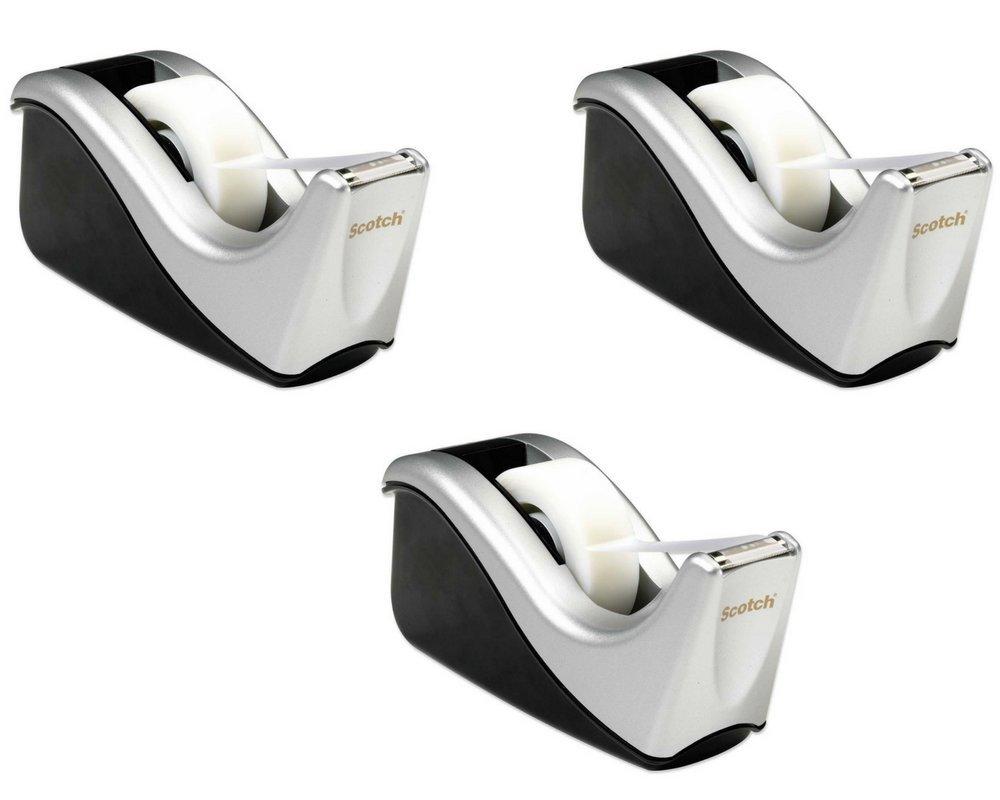 Scotch Desktop Tape Dispenser Silvertech, Two-Tone (C60-ST) - 3 Pack
