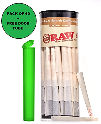 Cone Filter Paper Natural - RAW Pre Rolled Cones Organic – 1 ¼ Size (60 Count) Natural Unrefined Pure Hemp Pre-Rolled Rolling Paper Cones with Filter – Bonus Doob Tube Included