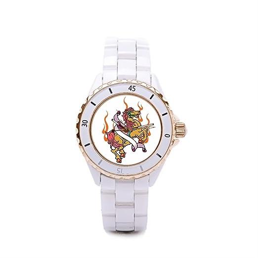 Queensland mejor Tatuajes Relojes Mujeres de cerámica reloj de diseños de tatuajes: Amazon.es: Relojes