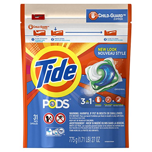 Tide PODS 3 in 1 HE Turbo Laundry Detergent Pacs, Original Scent, 31 Count Bag