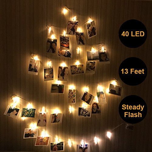 LED Photo Clip String Light – 40 Clear Clips, 13ft, Warm White, for Fairy Indoor Home Décor Bedroom Dorm Halloween Christmas Birthday Wedding Party– for Hanging Pictures Cards (Battery (Clothespin Halloween Crafts)