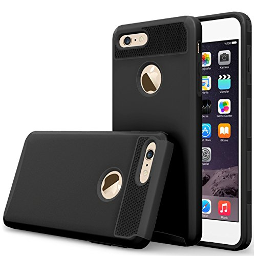 """iBarbe iphone 6 Case,iphone 6s Case,2 in 1 Shock-Absorption Bumper Cover Anti-Scratch Rubber Plastic Heavy Duty Protection Slim Hard case for iPhone 6 (4.7""""),,iPhone 6S (4.7"""")(2015) - Black"""