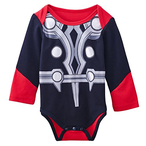 A&J Design Baby Boys' The Thor Long Sleeve Bodysuit 6-9 Months (Superhero Outfits)