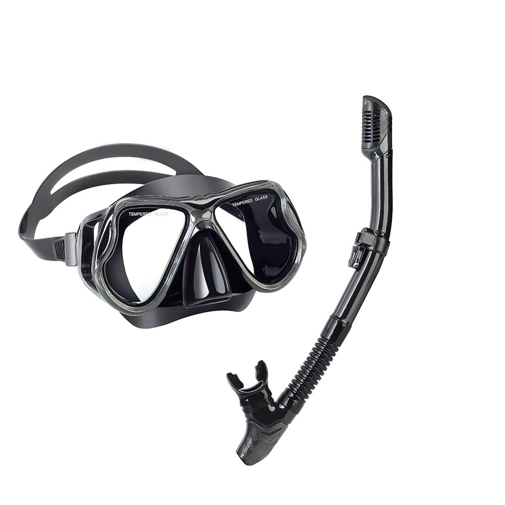yiikii Snorkel Set for Adults Anti-Fog Anti-Leak Panoramic View Free Breathing Dry Top Snorkel Set with Travel Bag (Black)