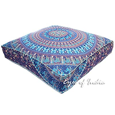 """EYES OF INDIA - 35"""" Mandala Oversized Large Square Floor Meditation Pillow Cover Pouf Cushion Seating Decorative Bohemian boho dog bed Indian"""