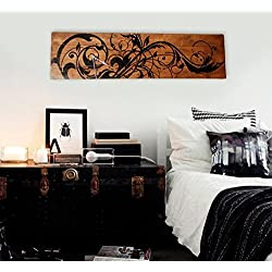 Extra Large Wall Clock Vine Scroll Art on Solid Wood Planks 48 x 13