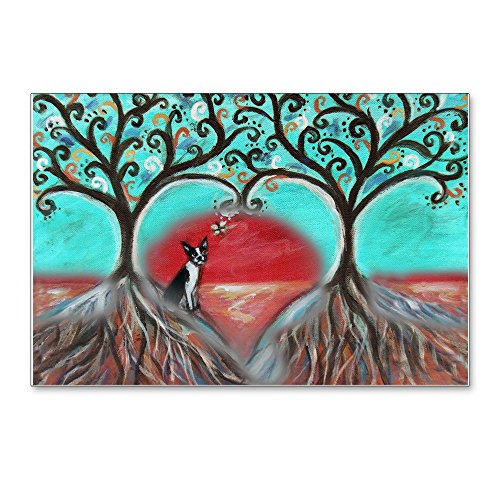 CafePress Boston Terrier Tree Of Life Hearts 2 Postcards (Pa Postcards (Package of 8), 6