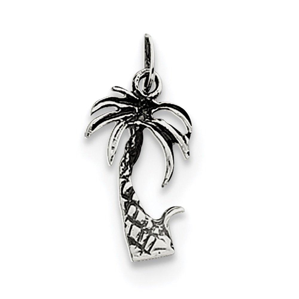 Lex /& Lu Sterling Silver Antiqued Palm Tree Charm LAL105648