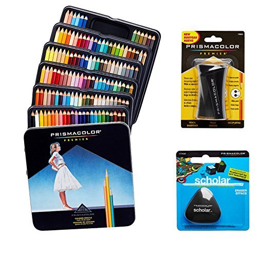 Prismacolor Quality Art Set - Premier Colored Pencils 132 Pack, Premier Pencil Sharpener 1 Pack and Latex-Free Scholar Eraser 1 Pack by Prismacolor