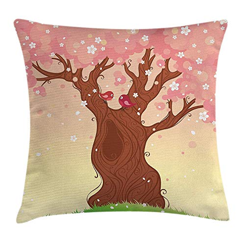 MHKLTA Nature Throw Pillow Cushion Cover, Landscape Childish Cartoon Art Tree Love Birds Falling Flowers Grass Pattern, Decorative Square Accent Pillow Case, 18 X 18 inches, Pink Brown Green