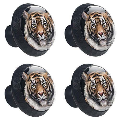 (Idealiy Animal Tiger Drawer Knob Pull Handle Cupboard Knobs with Screws 4pcs)